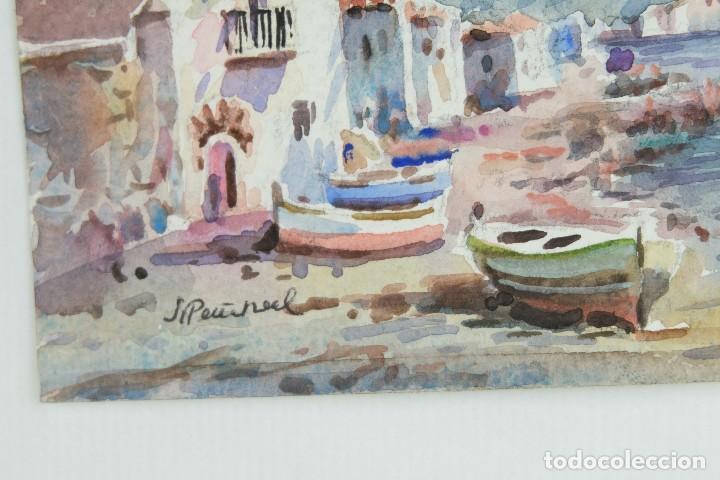 Arte: Acuarela sobre papel Paisaje costa con barcas firma ilegible segunda mitad siglo XX - Foto 5 - 115615571