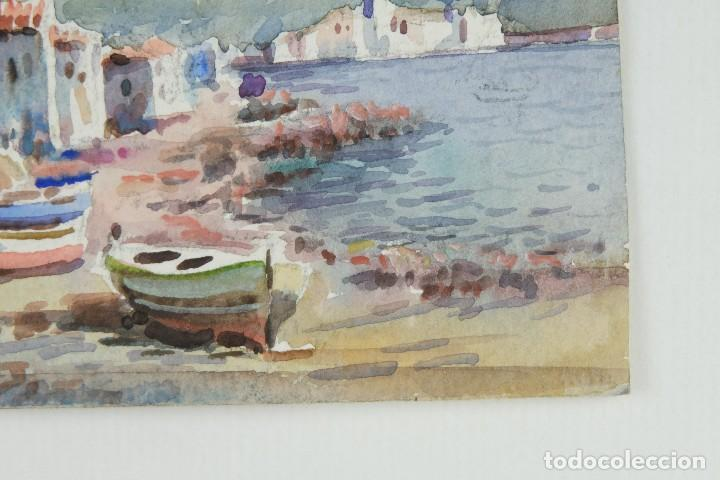 Arte: Acuarela sobre papel Paisaje costa con barcas firma ilegible segunda mitad siglo XX - Foto 6 - 115615571