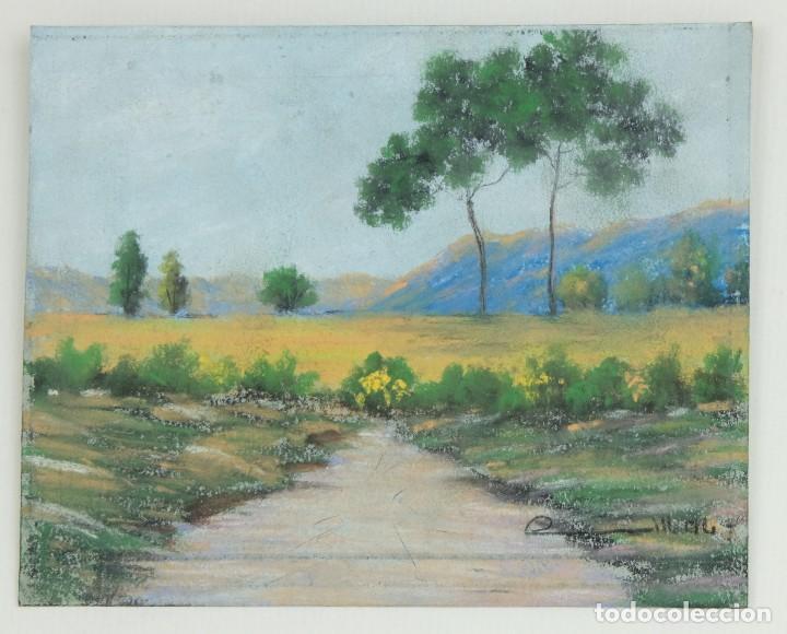 Arte: Gouache y acuarela sobre papel Paisaje camino firma ilegible segunda mitad siglo XX - Foto 2 - 115616635