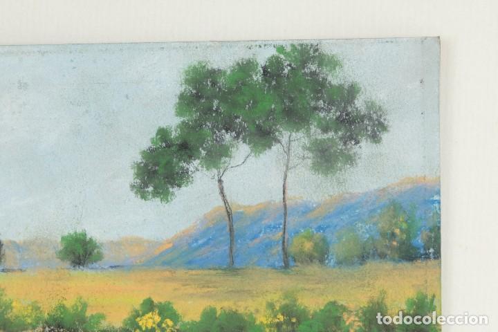Arte: Gouache y acuarela sobre papel Paisaje camino firma ilegible segunda mitad siglo XX - Foto 3 - 115616635