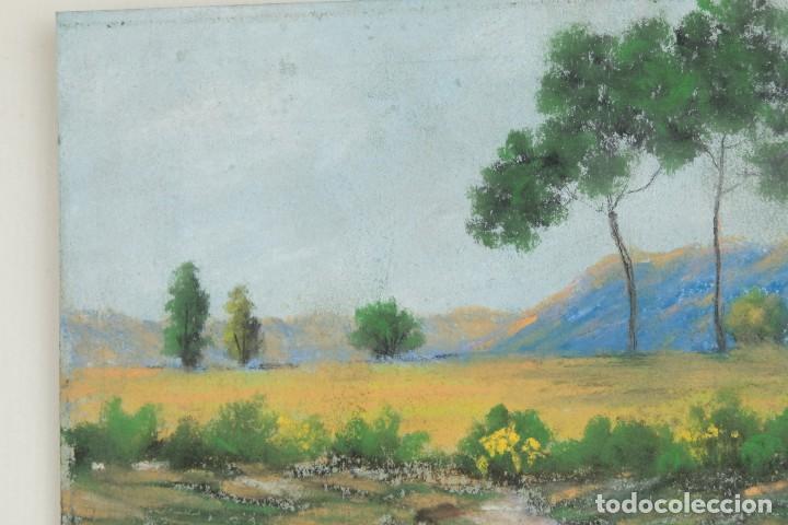 Arte: Gouache y acuarela sobre papel Paisaje camino firma ilegible segunda mitad siglo XX - Foto 4 - 115616635