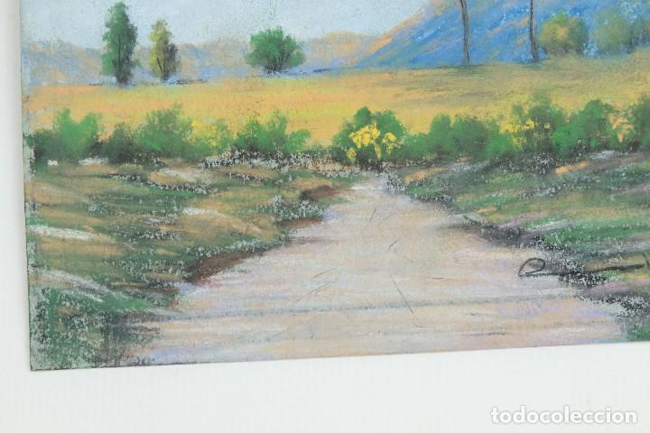 Arte: Gouache y acuarela sobre papel Paisaje camino firma ilegible segunda mitad siglo XX - Foto 5 - 115616635
