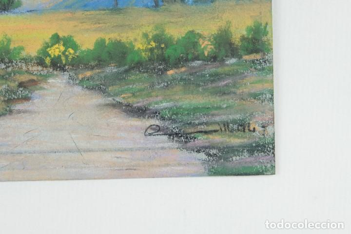Arte: Gouache y acuarela sobre papel Paisaje camino firma ilegible segunda mitad siglo XX - Foto 6 - 115616635