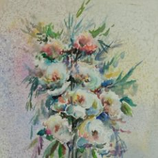 Arte: ACUARELA SOBRE PAPEL BODEGON FLORES FIRMADA J.PEÑARREAL TERCER TERCIO SIGLO XX. Lote 115616867