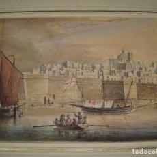 Arte: VISTA DE LA BAHÍA DE CÁDIZ. T.L. HORNBROOK (1808-1855). ACUARELA.. Lote 116437343