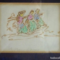 Arte: DIBUJO ORIGINAL ACUARELADO DEL ARTISTA J.PASCUAL JIMENO, DE TÍTULO GITANAS. Lote 116808755