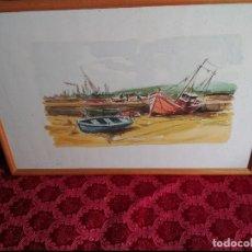 Arte: CADIZ ACUARELA MARINA DE GRAN FORMATO FIRMADA Y DEDICADA 1981 JOSE ANTONIO VILLEGAS 1981.ENMARCADA. Lote 116826239