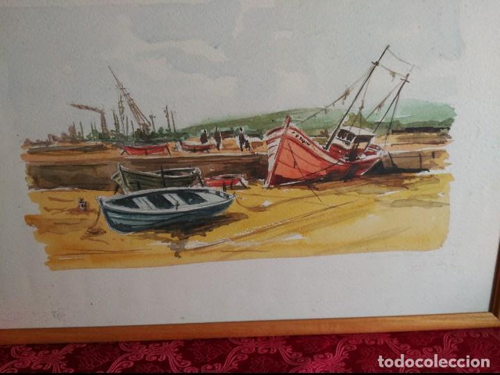 Arte: cadiz acuarela marina de gran formato firmada y dedicada 1981 jose antonio villegas 1981.enmarcada - Foto 2 - 116826239