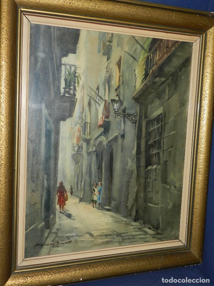 (M) ACUARELA DE MARIANO BRUNET 1952 , ENMARCADO , 65 X 54 CM, BUEN ESTADO (Arte - Acuarelas - Contemporáneas siglo XX)
