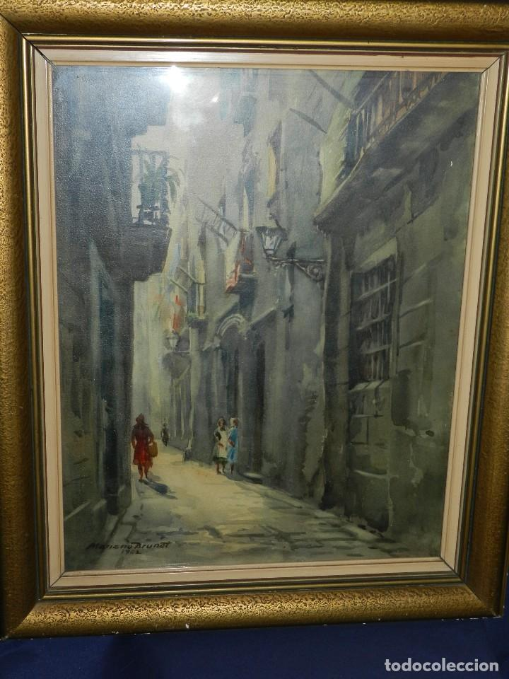 Arte: (M) ACUARELA DE MARIANO BRUNET 1952 , ENMARCADO , 65 X 54 CM, BUEN ESTADO - Foto 2 - 117047327