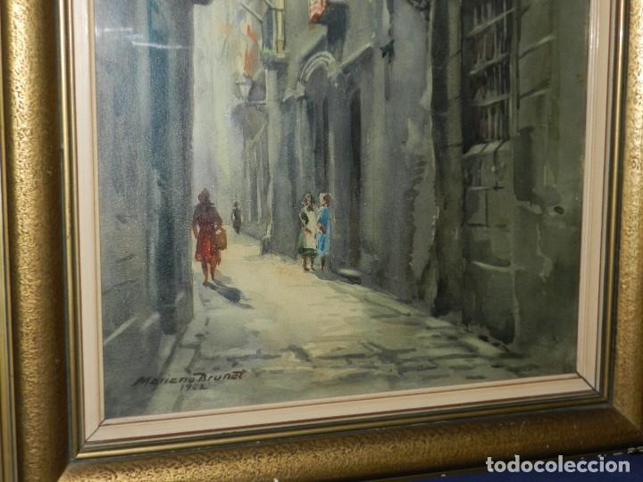 Arte: (M) ACUARELA DE MARIANO BRUNET 1952 , ENMARCADO , 65 X 54 CM, BUEN ESTADO - Foto 5 - 117047327