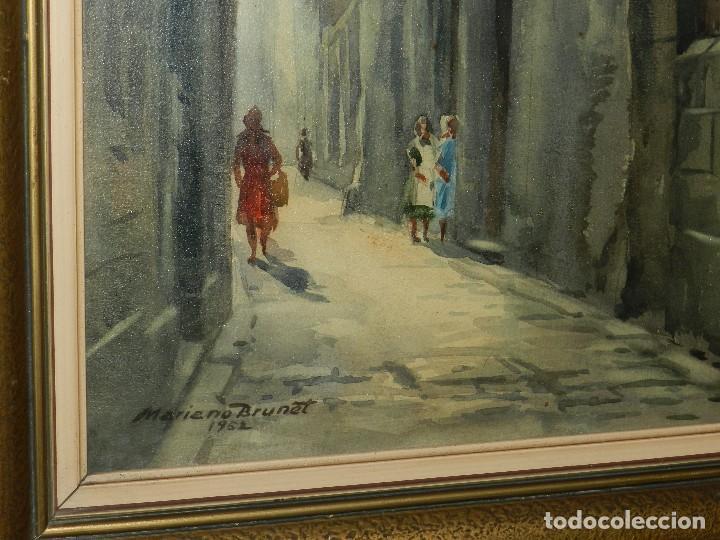 Arte: (M) ACUARELA DE MARIANO BRUNET 1952 , ENMARCADO , 65 X 54 CM, BUEN ESTADO - Foto 6 - 117047327
