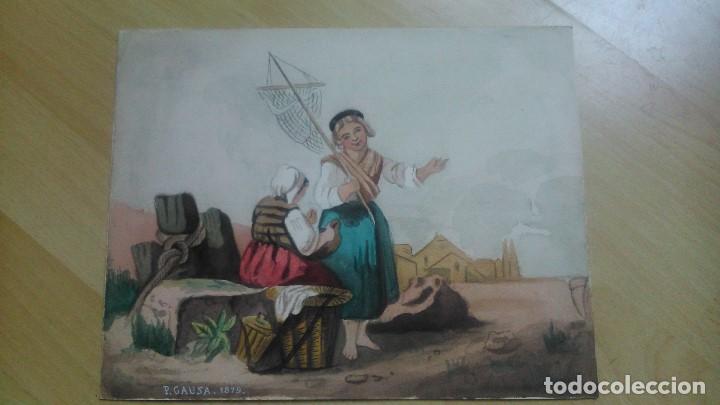 ESCENA DE PESCA FECHADA EN 1879 TAMBIÉN FIRMADA P.GAUSA (Arte - Acuarelas - Modernas siglo XIX)