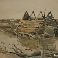 Arte: FIRMADO A. CRESPO. ACUARELA SOBRE PAPEL FECHADA DEL AÑO 1956. ALBUFERA VALENCIANA. Lote 117513843