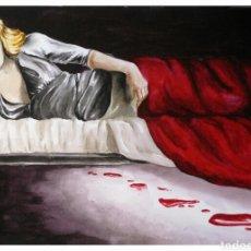 Arte: CUADRO CON PINTURA MEDIEVAL «ISOLDA DESCUBIERTA». Lote 117696623