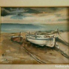 Arte: ANTIGUA ACUARELA FIRMADA - MARINA - PINTURA CON MARCO 26 X 21 CM. Lote 118097559