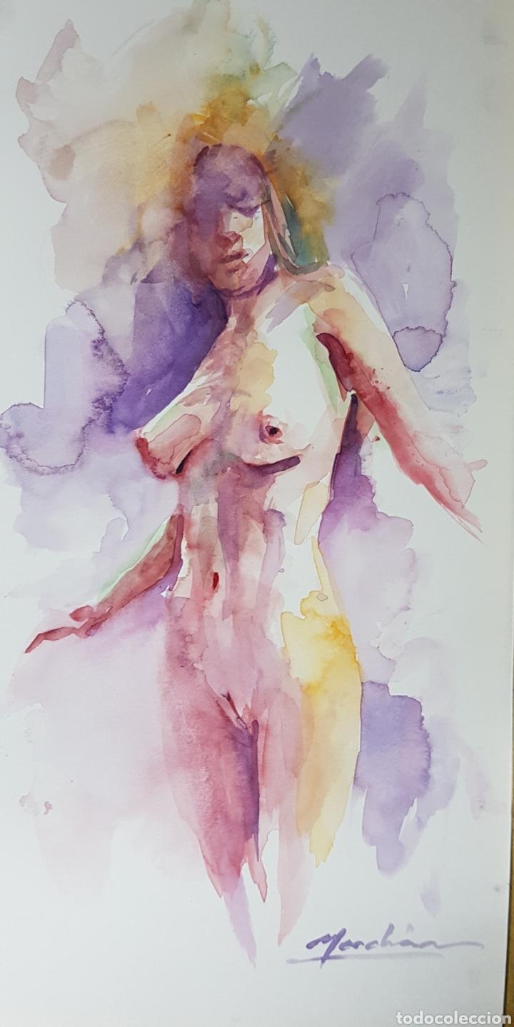 EXCEPCIONAL ACUARELA DE CARLOS MERCHÁN, DESNUDO FEMENINO, 15X30CM (Arte - Acuarelas - Contemporáneas siglo XX)