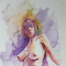 Arte: EXCEPCIONAL ACUARELA DE CARLOS MERCHÁN, DESNUDO FEMENINO, 15X30CM. Lote 118403775