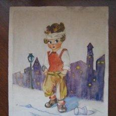 Arte: DIBUJO ACUARELA O PASTEL O TÉCNICA MIXTA -FIRMADO CABRERA PAPEL ACUARELA INFANTIL NIÑO -CERTIF 6. Lote 118433347