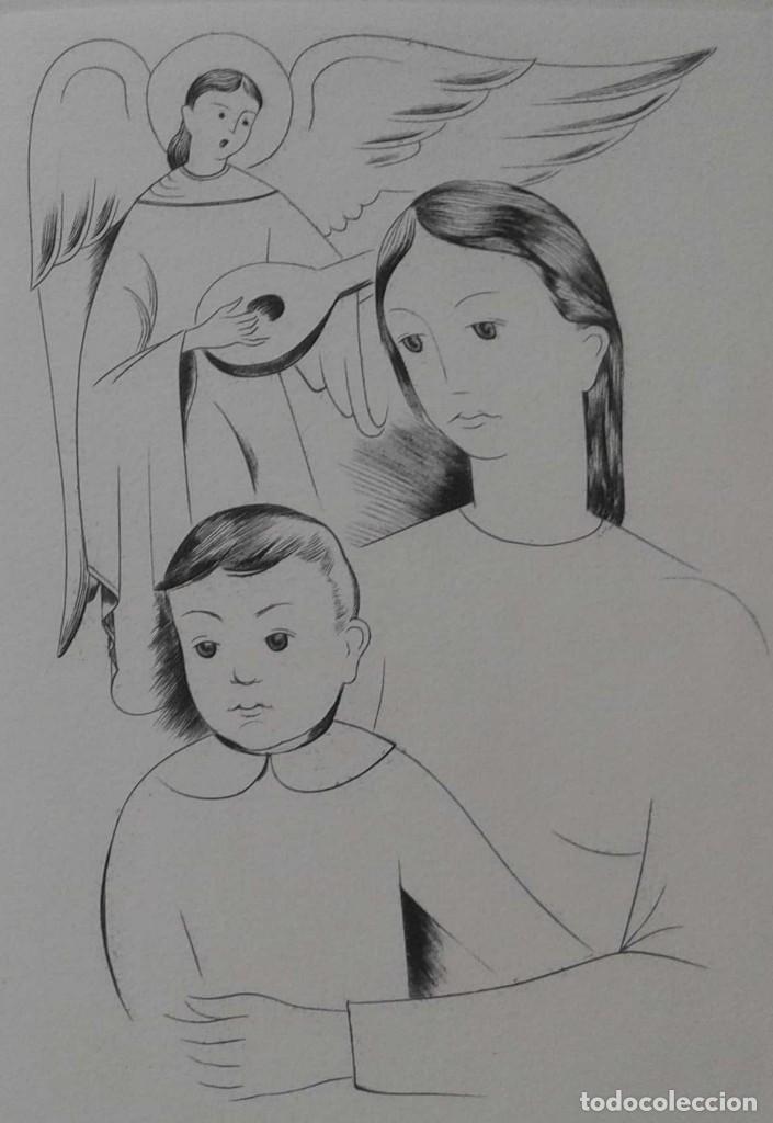 ELS GRAVADORS DE LA ROSA VERA 1955 NACIMIENTO FELICITACIÓN NAVIDAD. DE JAUME PLA FIRMADO A LAPIZ (Arte - Acuarelas - Contemporáneas siglo XX)