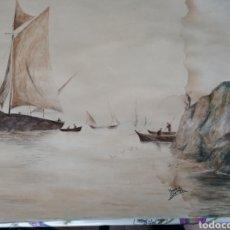 Arte: DOS AGUAMARINAS EN PAPEL PERMAMINO SIGLO XVIII PINTADAS POR AUGUSTO DEL SARMENGOL. Lote 118959291