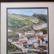 Kunst - cuadro-acuarela-cudillero-Cristal-perfecto e-73x60/46x34 cms-firmado-ver fotos - 119038131