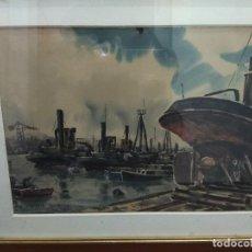 Arte: MAGNIFICA ACUARELA ORIGINAL RAFAEL ORTIZ ALFAU 1935 - 2000 FIRMADO RIA DE BILBAO ASTILLERO VASCO. Lote 119117371