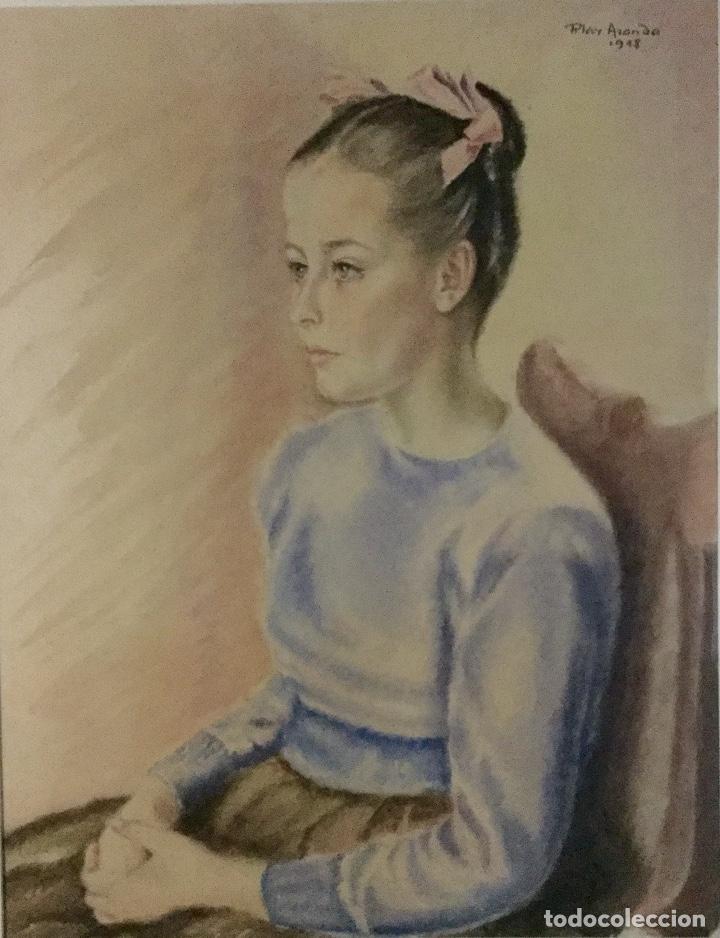 PILAR ARANDA NICOLÁS (ZARAGOZA 1914- MADRID 1997) ACUARELA CON RETRATO FEMENINO(64X50CM) (Arte - Acuarelas - Contemporáneas siglo XX)