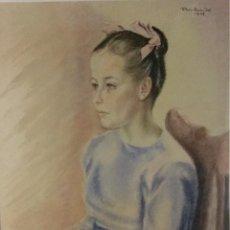 Arte: PILAR ARANDA NICOLÁS (ZARAGOZA 1914- MADRID 1997) ACUARELA CON RETRATO FEMENINO(64X50CM). Lote 119454299