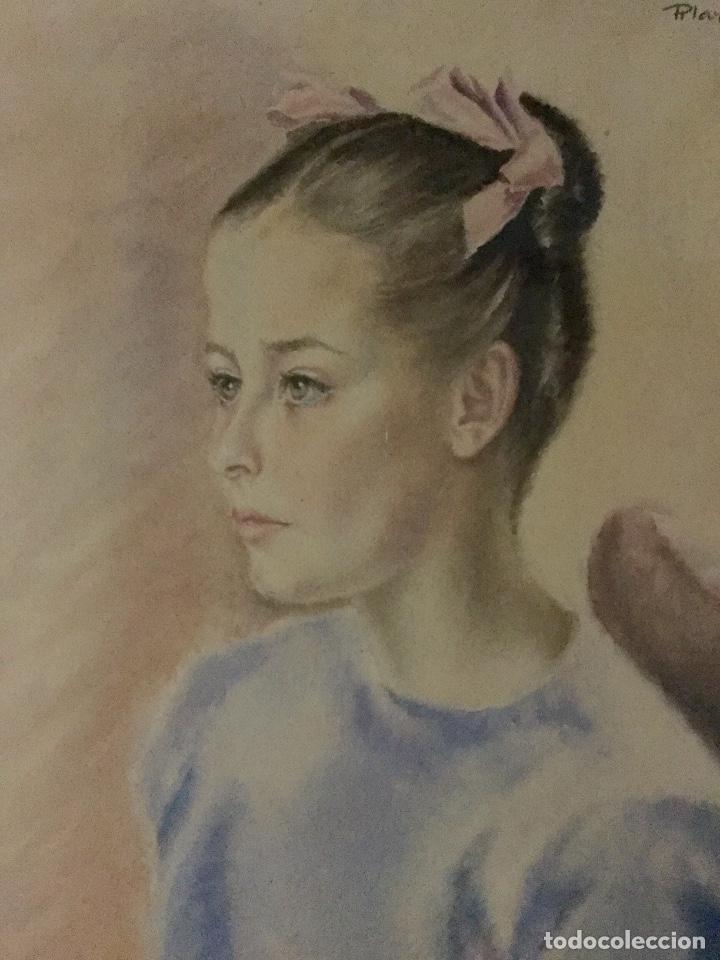 Arte: PILAR ARANDA NICOLÁS (Zaragoza 1914- Madrid 1997) Acuarela con retrato femenino(64x50cm) - Foto 2 - 119454299