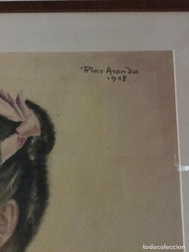 Arte: PILAR ARANDA NICOLÁS (Zaragoza 1914- Madrid 1997) Acuarela con retrato femenino(64x50cm) - Foto 3 - 119454299