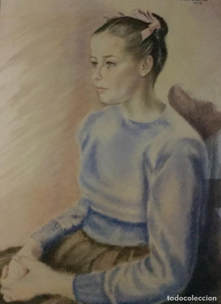 Arte: PILAR ARANDA NICOLÁS (Zaragoza 1914- Madrid 1997) Acuarela con retrato femenino(64x50cm) - Foto 4 - 119454299