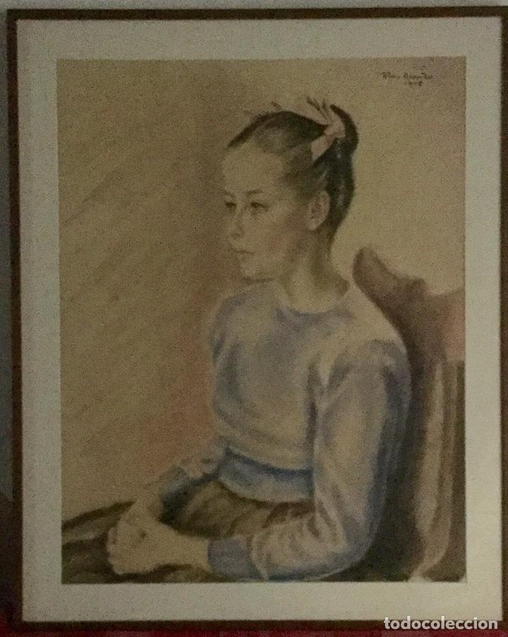 Arte: PILAR ARANDA NICOLÁS (Zaragoza 1914- Madrid 1997) Acuarela con retrato femenino(64x50cm) - Foto 5 - 119454299