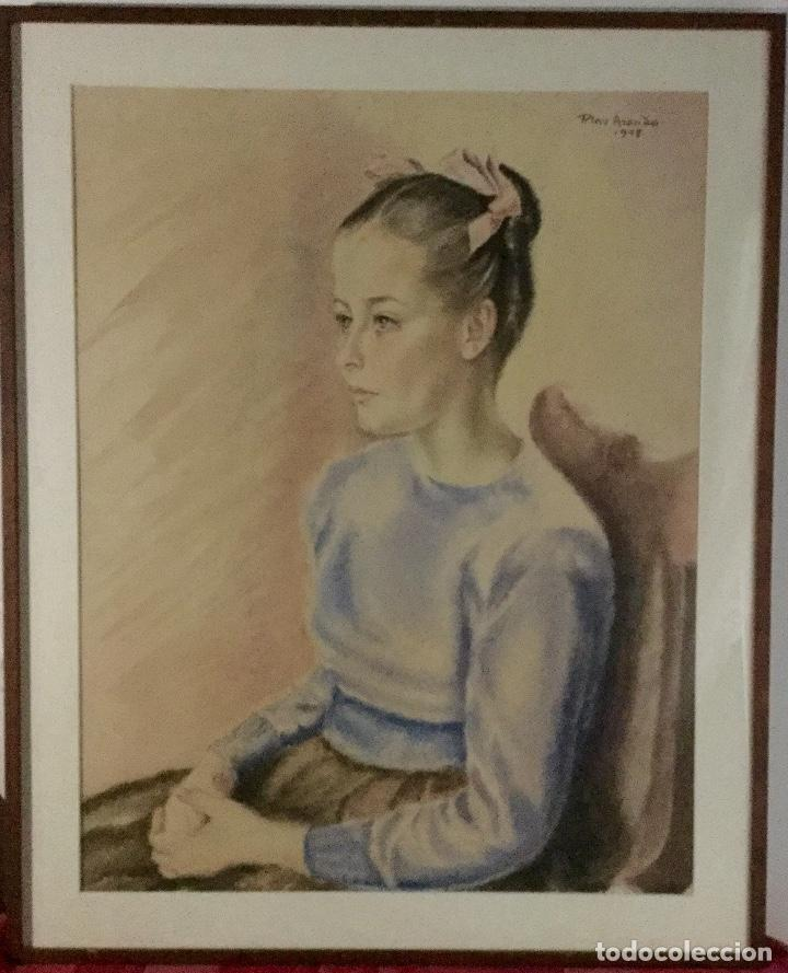 Arte: PILAR ARANDA NICOLÁS (Zaragoza 1914- Madrid 1997) Acuarela con retrato femenino(64x50cm) - Foto 6 - 119454299
