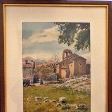 Arte: SANTA MARIA DE LES ESGLÉSIES - NAVÁS - ACUARELA - RAMON PONS (1887-1974) SANT QUIRZE DE BESORA. Lote 119481827