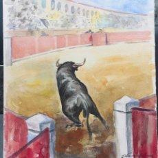 Arte: SANCHEZ VÀZQUEZ , ACUARELA ORIGINAL DEL AÑO 1974 , MOTIVO TAURINO. Lote 119518315