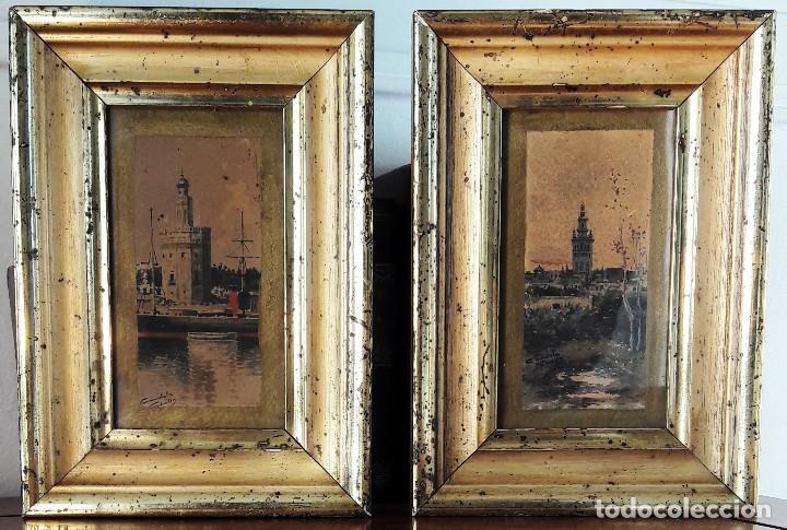 PAREJA DE ACUARELAS CON ESCENAS SEVILLANAS. SIGLO XIX FIRMADAS CANDELA (Arte - Acuarelas - Modernas siglo XIX)
