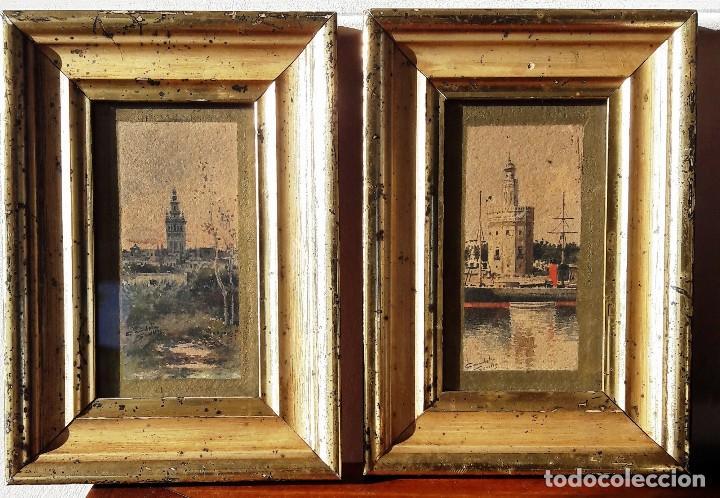 Arte: Pareja de acuarelas con escenas sevillanas. Siglo XIX firmadas Candela - Foto 2 - 180944067