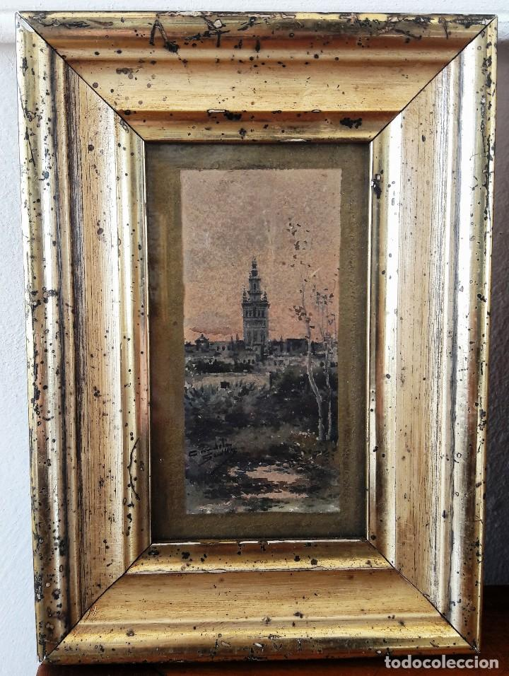 Arte: Pareja de acuarelas con escenas sevillanas. Siglo XIX firmadas Candela - Foto 4 - 180944067
