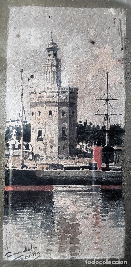 Arte: Pareja de acuarelas con escenas sevillanas. Siglo XIX firmadas Candela - Foto 5 - 180944067