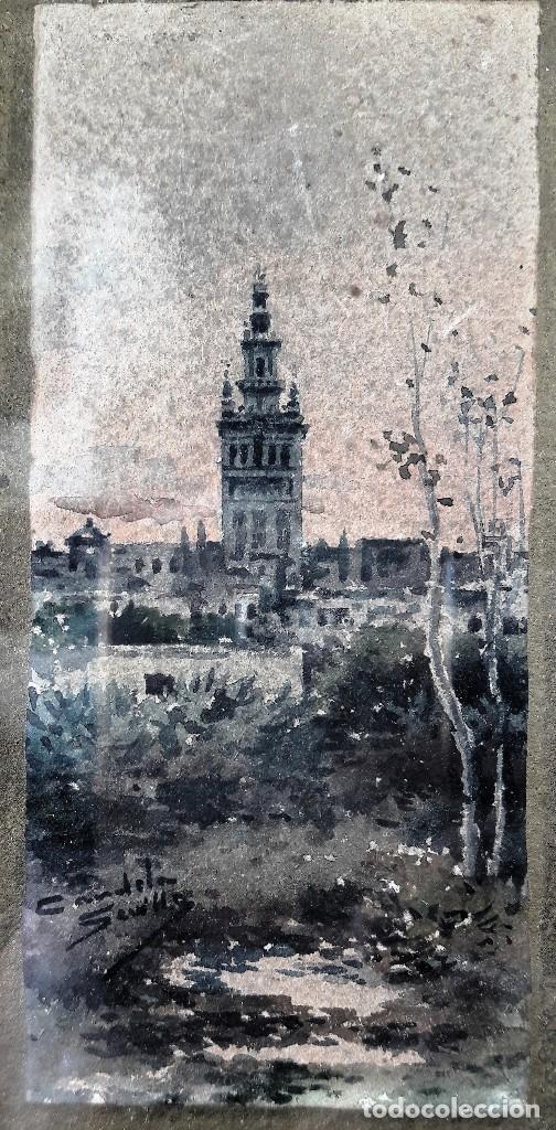Arte: Pareja de acuarelas con escenas sevillanas. Siglo XIX firmadas Candela - Foto 6 - 180944067