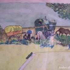 Arte: PAISAJE DE ACUARELA DE LOS AÑOS 30. D: 32 X 24 SIN MARCO Y 47 X 44,5 CM. CON MARCO.. Lote 119624487