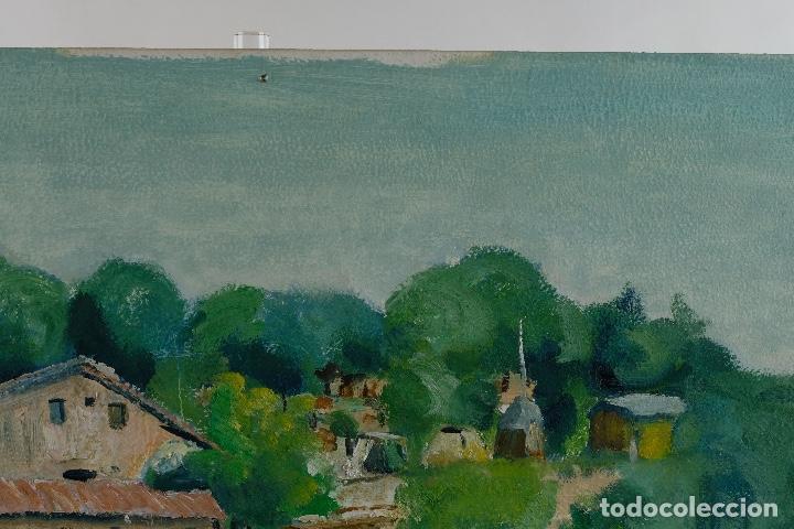 Arte: Rafel Serrahima Gouache sobre táblex Paisaje tercer tercio siglo XX - Foto 4 - 119697295