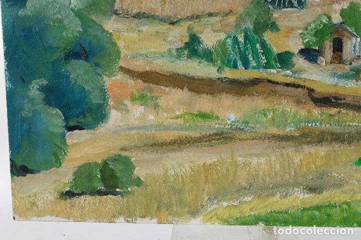 Arte: Rafel Serrahima Gouache sobre táblex Paisaje tercer tercio siglo XX - Foto 9 - 119697295