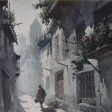 Arte: GARCÍA BONILLO - ACUARELA - CALLEJUELA EMPEDRADA. Lote 119927227