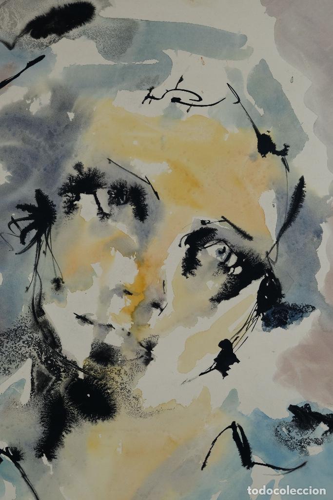 Arte: Acuarela sobre papel Rostro femenino firma ilegible tercef tercio siglo XX - Foto 3 - 120231527