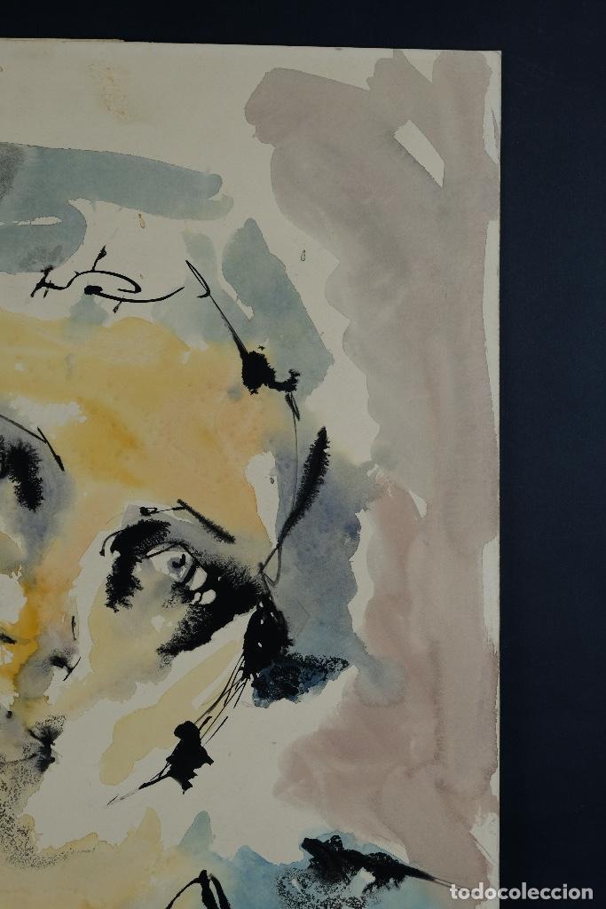 Arte: Acuarela sobre papel Rostro femenino firma ilegible tercef tercio siglo XX - Foto 5 - 120231527
