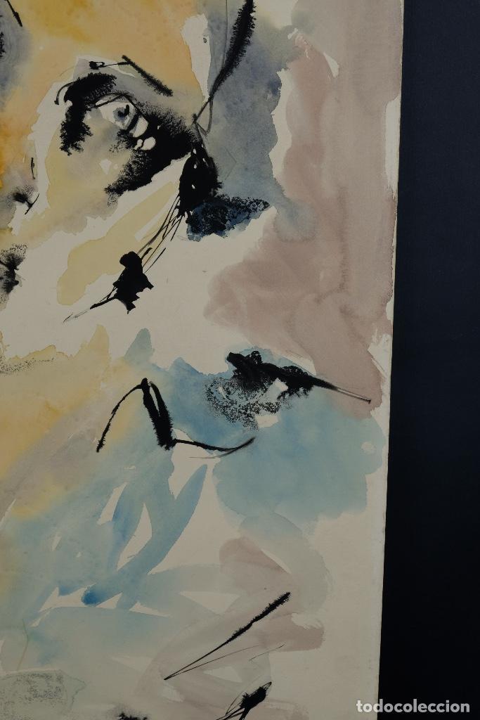 Arte: Acuarela sobre papel Rostro femenino firma ilegible tercef tercio siglo XX - Foto 6 - 120231527