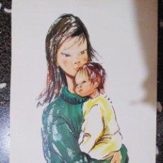 Arte: BONITA LITOGRAFIA DE ACUARELA - MADRE CON HIJO - DE ARTISTA - ELO - TAMAÑO 44X20 CMS. Lote 120356931