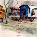 Arte: ACUARELA ORIGINAL DEL PINTOR CATALAN FRANCESC PLANAS DORIA ,AÑO 1944,CARAVANA-CARRO DE FERIA O CIRCO. Lote 120458495